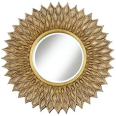 "Sunflower 36"" Wide Antique Gold Wall Mirror"