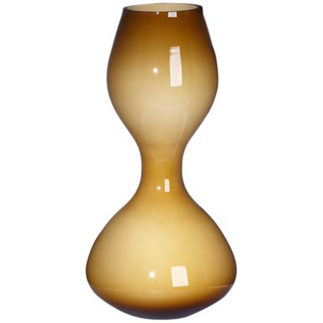 "Gradient Amber Hourglass 15 3/4"" High Glass Vase"
