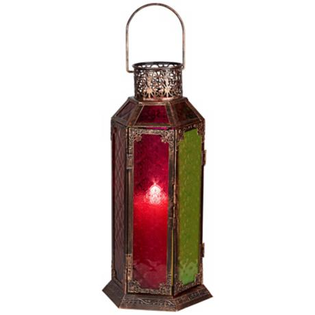 "Multicolored Glass 15 3/4"" High Antique Copper Lantern"