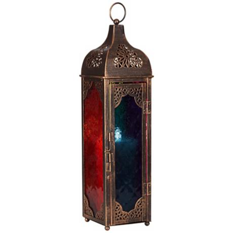 "Multicolored Glass Square 16 1/2"" High Copper Lantern"