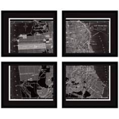 "Set of 4 San Francisco 23 1/4"" Wide Map Wall Art"