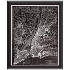 "New York City 31 1/2"" High Framed Map Wall Art"