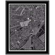 "Boston 31 1/2"" High Framed Map Wall Art"