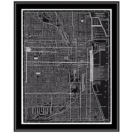 "Chicago 31 1/2"" High Framed Map Wall Art"