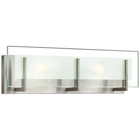 Hinkley latitude 18 wide brushed nickel vanity light for Hinkley bathroom vanity lighting