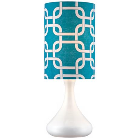 Retro Blue Lattice Shade Mini Droplet White Table Lamp