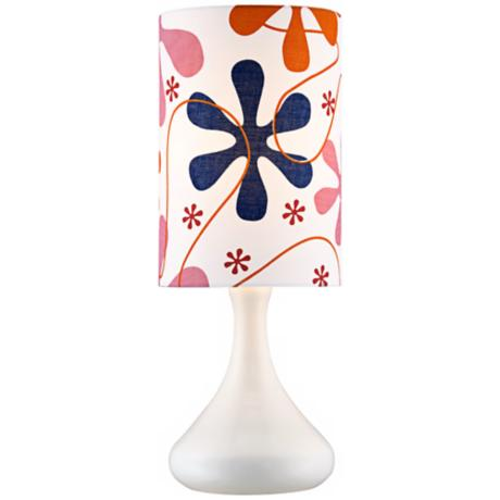 Retro Pink Print Shade Mini Droplet White Table Lamp