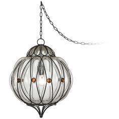 "Centinela Globe 13"" Wide Glass Plug-In Swag Chandelier"