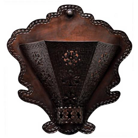 "Jezebel Radiance™ 7"" Deep Tribal Tin Wall Sconce"