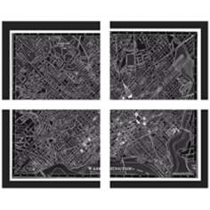 "Set of 4 Washington 20"" Wide Map Wall Art"