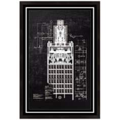 "Blue Print 7 Framed 19"" High Architectural Wall Art"