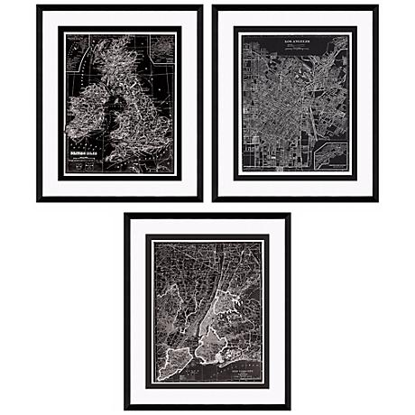 "Set of Three Reversed Maps 25 1/2"" High Framed Wall Art"