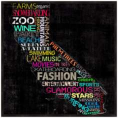 "California Typography 12 1/2"" Square Map Wall Art"