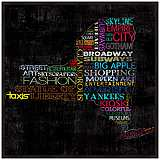 "New York Typography 12 1/2"" Square Map Wall Art"