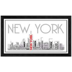 "New York City Skyline 28 1/2"" Wide Framed Wall Art"