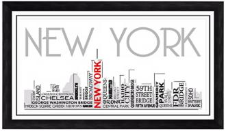 "New York City Skyline 28 1/2"" Wide Framed Wall Art (W9315) W9315"