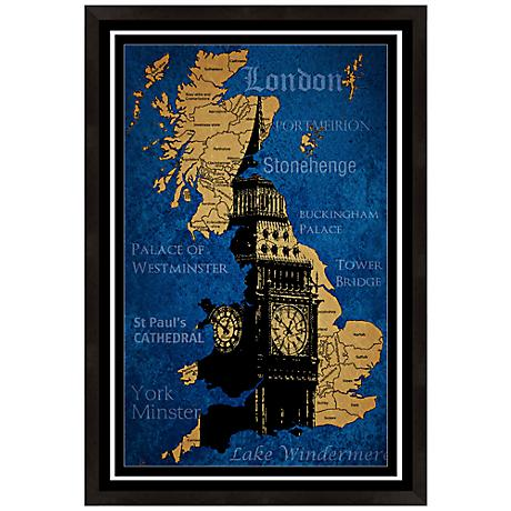 "London England Map 19"" High Framed Wall Art"