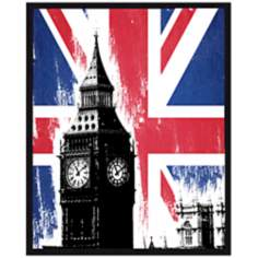 "Big Ben and Union Jack 10 1/2"" High Framed Wall Art"