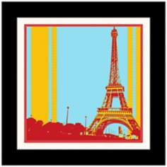 "Paris in Blue Yellow and Red 17 1/4"" High Framed Wall Art"