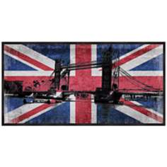 "Union Jack and London Bridge 20 1/2"" Wide Framed Wall Art"