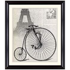 "Antique Bike in Paris 31 1/4"" High Framed Wall Art"