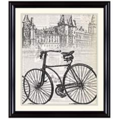 "Antique Bike in London 31 1/4"" High Framed Wall Art"