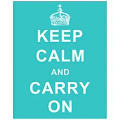"Keep Calm and Carry On Blue 20"" High Hanging Wall Art"