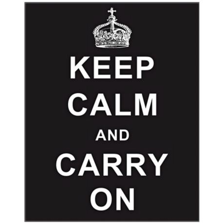 "Keep Calm and Carry On Black 20"" High Hanging Wall Art"