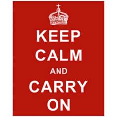 "Keep Calm and Carry On Red 20"" High Hanging Wall Art"