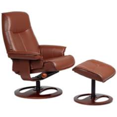 Vincente Cognac Vinyl Recliner with Ottoman