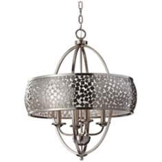 "Murray Feiss Zara 24"" Wide Brushed Steel Chandelier"