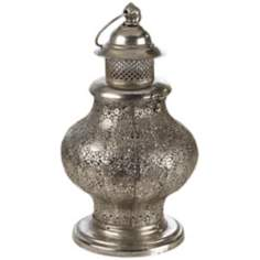 Brushed Nickel Metal Candle Lantern