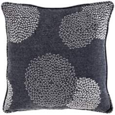 "Dark Gray Floral 18"" Square Designer Throw Pillow"