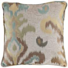 "Light Ikat 18"" Square Designer Throw Pillow"