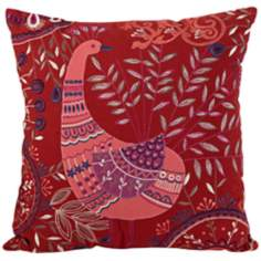 "Boho Peacock Red 16"" Square Down Throw Pillow"