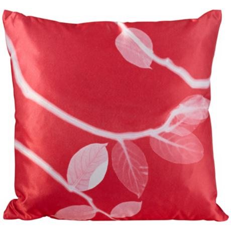 "Jelly Bean Pink Satin 18"" Square Down Throw Pillow"