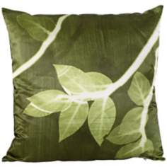 "Jelly Bean Green Satin 18"" Square Down Throw Pillow"