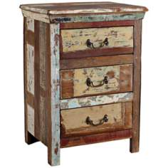 Vintage 3-Drawer Reclaimed Wood Night Stand