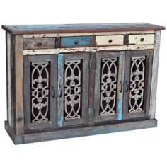 Roma Collection Multi-Color Reclaimed Wood Cabinet