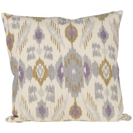 "Poppy Ikat Canvas 20"" Square Down Throw Pillow"