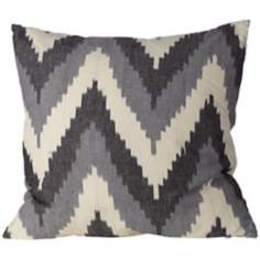 "Chevron Ikat Canvas 20"" Square Down Throw Pillow"