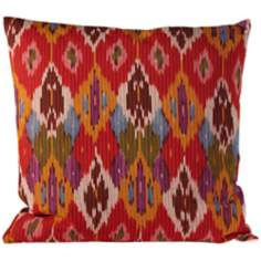 "Multicolor Ikat Canvas 20"" Square Down Throw Pillow"