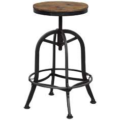 Akron Collection Reclaimed Wood Adjustable Bar Stool