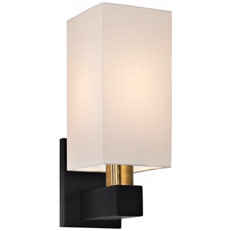 "Sonneman Cubo 14"" High Natural Brass and Black Wall Sconce"