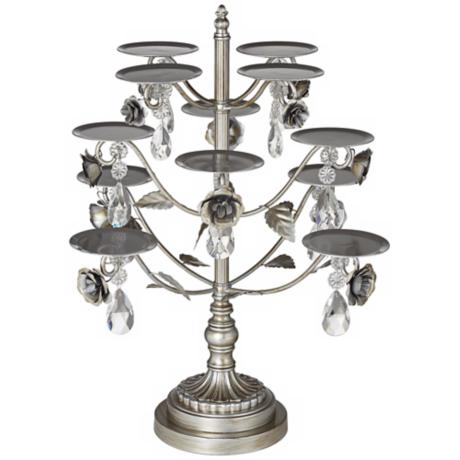 Jewel Rose 12-Piece Antique Silver Cupcake Stand