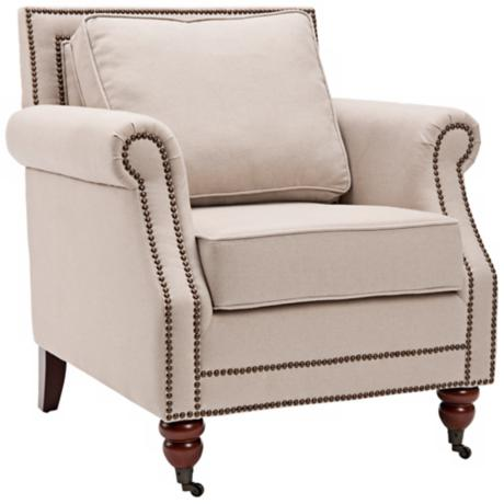Safavieh Karsen Beige Linen Wood Club Chair
