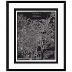 "Los Angeles 25 1/2"" High Framed Map Wall Art"
