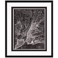 "New York City 25 1/2"" High Framed Map Wall Art"