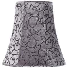 Glitter Floral Grey Velour Shade 3.5x6x6 (Clip-On)