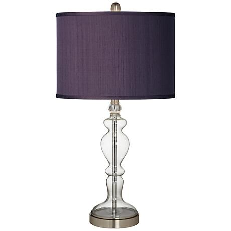 Eggplant Faux Silk Apothecary Clear Glass Table Lamp